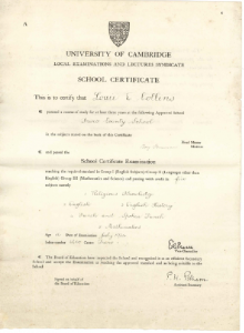 Exam certificate aged 16
