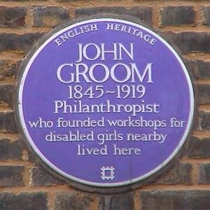 The plaque that marks the place where John Groom lived.
