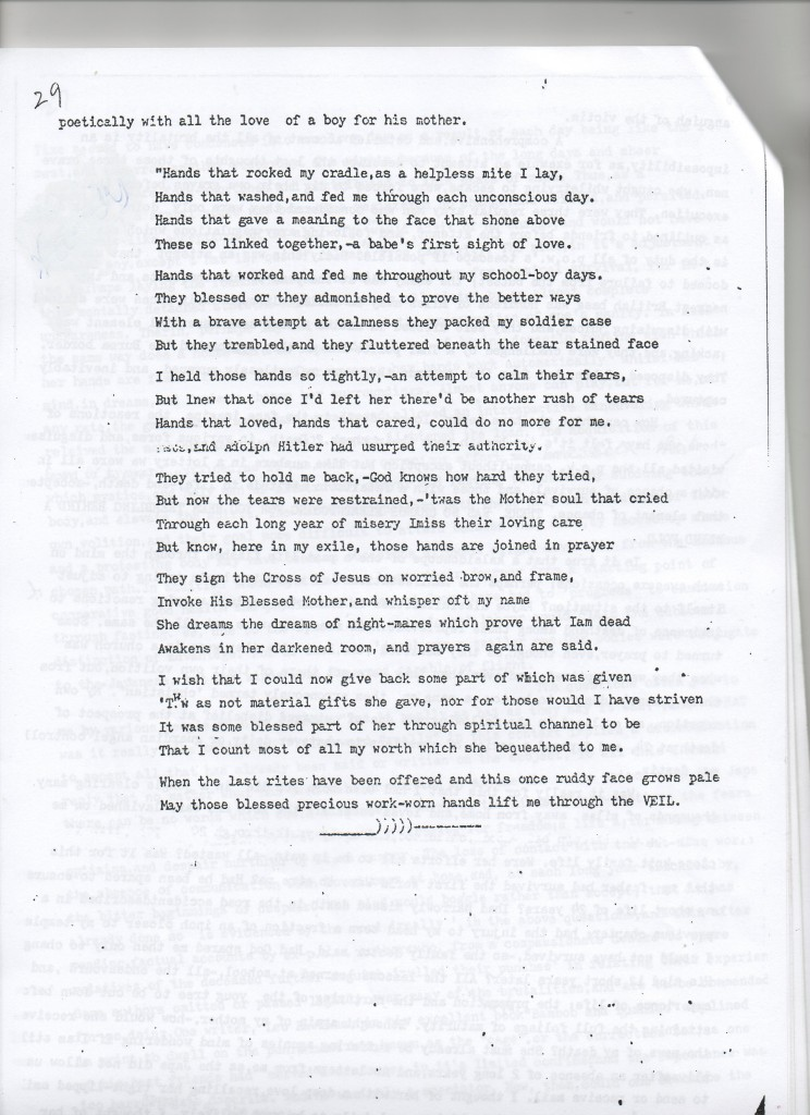 Poem included in Gill's memoir about his mother
