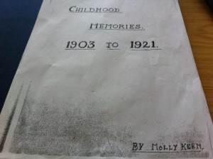 Molly Keen's cover page of her memoir 'Childhood Memories'