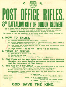 Advertisment for the Post Office Rifles (c.1915)