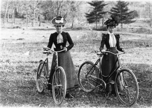 Two women on safety bicycles '2 ha pennies'