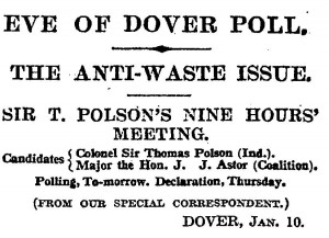 Source: 'Eve of Dover Poll.' The Times. 11 January 1921: p.10