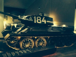 T-34/85 Tank developed fir the Second World War Photograph taken at The Imperial War Museum in Salford, Manchester.