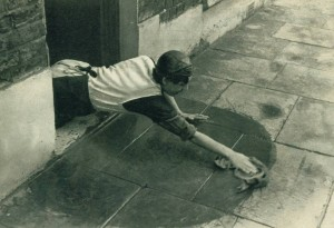 Working-class woman cleaning