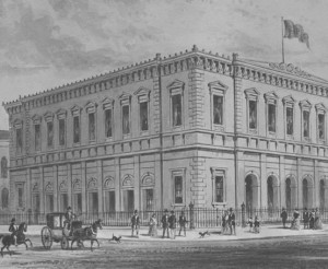 The original building of the Philharmonic Hall in 1849