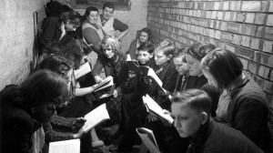Children in an Air Raid shelter, World War Two
