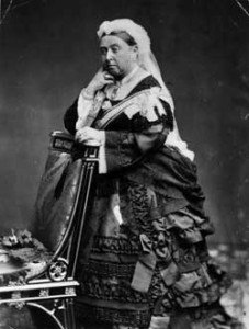 Queen Victoria in mourning dress decorated in Whitby Jet beading