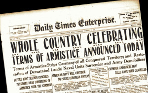 Newspaper reporting signing of Armistice