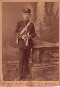 An American bugle boy, actually of company 'B'. This is a cabinet card, taken roughly at the turn of the century.