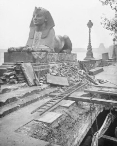 The Sphinx on London Embankment - damaged by an air raid in 1917