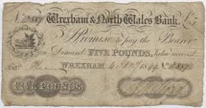 Banknote of the Wrexham & North Wales Bank, 1844.
