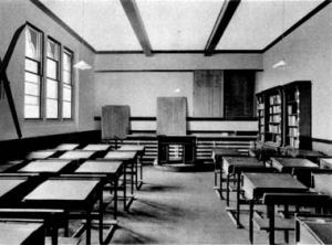 A traditional 19th century British classroom.