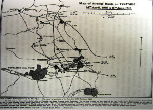 Figure 1 The route Kapitanleutnant Hirsch took in his Zeppelin raid on Newcastle