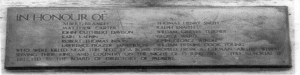 Figure 3 A plaque commemorating the men lost at Palmer's shipyards at Jarrow