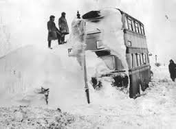 Snow covered bus during the harsh winter of 1946