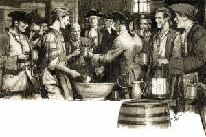 Sailors drinking rum in the mid 1700's.