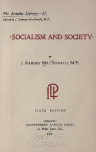 The inside cover of Socialism and Society by James Ramsay Macdonald.