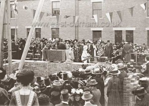 Laying the foundation stone of St Hild and St Helen's Church, Dawdon, 1911