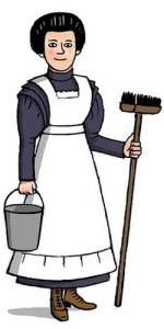 Cartoon of domestic servant 1900s