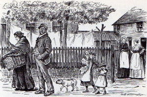 Cartoon of a working class family
