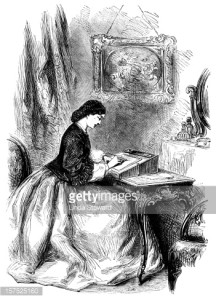Woman sitting at a writing desk - Victorian illustration