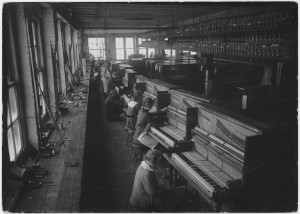 Row of key fitters at the Cable Company Factory.
