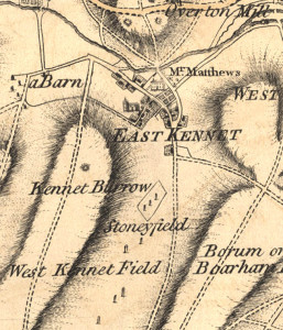 An Ordnance Survey Map of East Kennet, William's hometown, taken from 1810