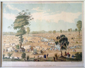 Golden Point, Ballarat 1851 by Thomas Ham depicts just one of the gold field which attracted so many British immigrants, including William