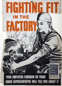 Image showing women working in the factories while the men are on 'the front'.