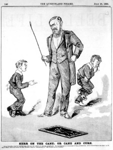 1888 illustration of caning in school.