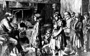 Illustration of children lining up to get paid for their labour