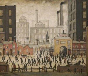 Coming from the Mill painted by Laurence Stephen Lowry, 1930