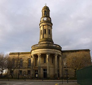 Modern day image of St Philips Church, Manchester.
