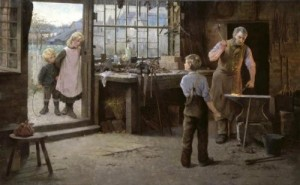 His First Day at Work (1890) by A Bannerman perfectly illustrates the painful process working-class male adolescents had to undergo; robbed of their childhood and forced into labour