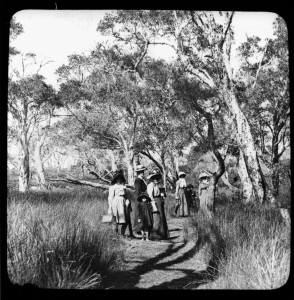Group of women and children walking in Sandgate, c. 1900