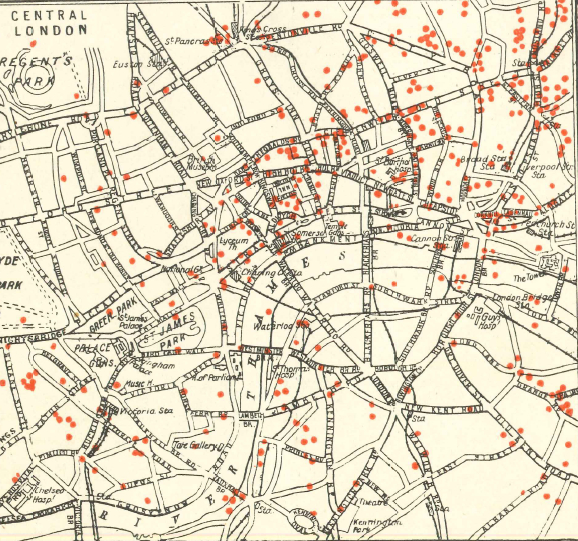 Bomb damage sites across London 1914 - 1918.
