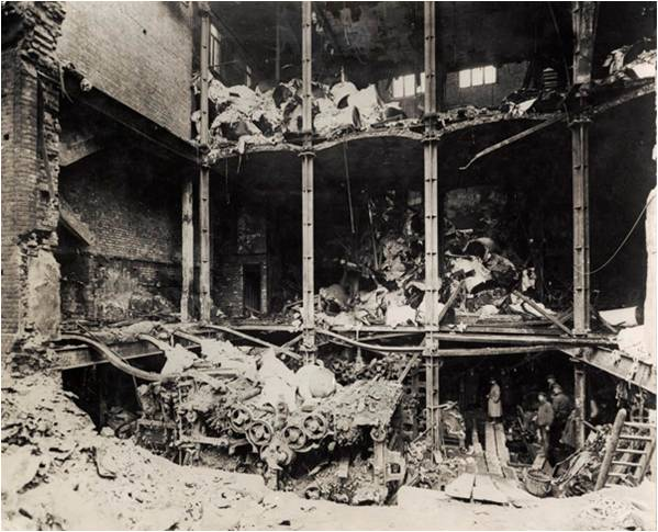 The damage to Odhams Press, Longacre in January 1918.