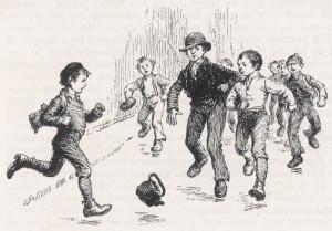 A game of street football, 1889.