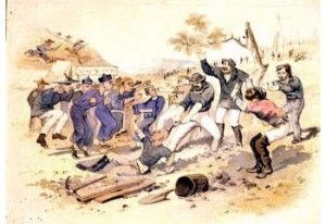 Scene depicting a clash between white and Chinese gold diggers reveals that there was tension between different ethnic groups and tempers often flared. This also feeds into the idea that the goldfields had an adverse effect on morality as capitalistic greed took hold