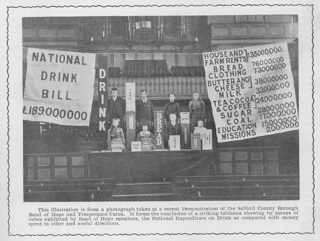 Printed in Onward in 1903: a 'tableau' which was displayed by adults and children of the Salford Band of Hope and Temperance Union. They relate statistics of national expenditure on drink to that on more essential commodities. This was a common tactic of the Temperance movement.