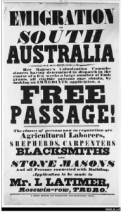 Emigration poster/advert promoting free passage to Australia for selected individuals only