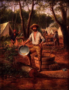 Typical image of gold digger back at camp after a day on the goldfields or panning the rivers