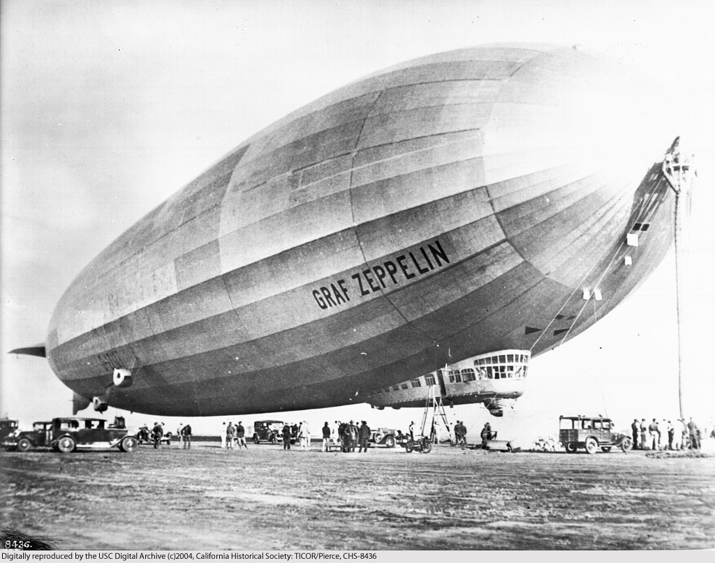 A Zeppelin: the enormous hydrogen-filled airships invented in Germany at the end of the nineteenth century u used to bomb Britain during the Great War.