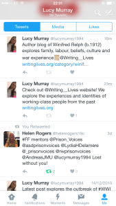 Screenshot from my Writing Lives twitter account @lucymurray1994