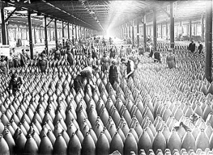 Figure 2 Women working in a munition factory in England during WW1