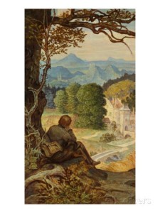 On the Tramp [circa 1860] by Moritz Von Schwind depicts a young adult male who is looking on at his home town for one last time as he prepares to face the arduous road ahead in search of work