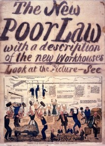 Illustrated poster informing of changes to legislation following the new Poor Law Amendment Act 1834