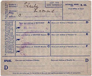 Example of a ration book from WW1