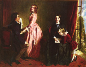Painting entitled 'The Governess' by Rebecca Solomon. Showing